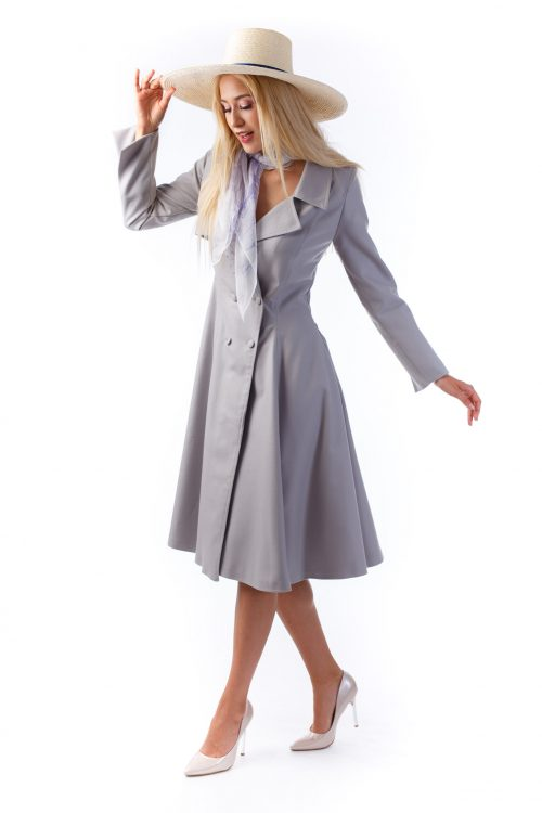Sinestezic - Rainy Grey Trench Coat - Nature's Noise Collection