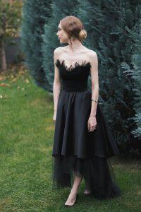 Black midi evening dress outfit - #SinestezicQueens - Sinestezic