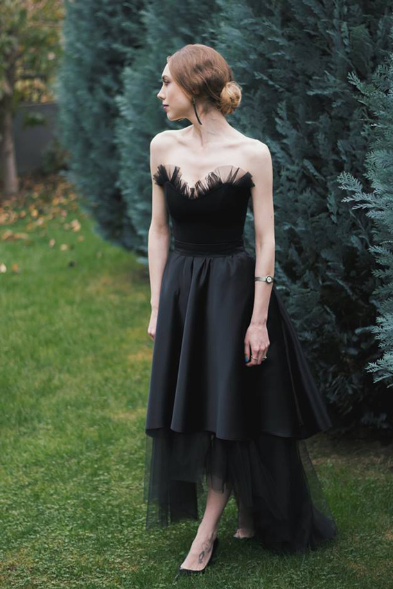 Black midi evening dress outfit - #SinestezicQueens - Sinestezic