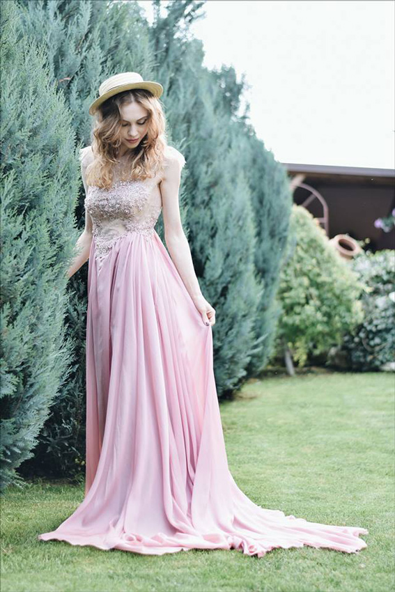 Pink long evening dress outfit with embroidery - #SinestezicQueens - Sinestezic