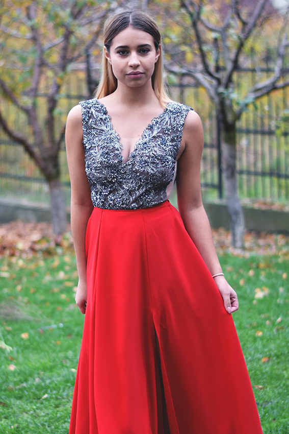 Red long evening dress outfit with grey lace - #SinestezicQueens - Sinestezic