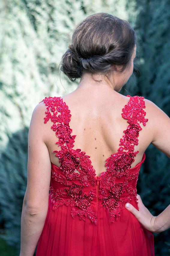 Red evening dress with lace - #SinestezicQueens - Sinestezic