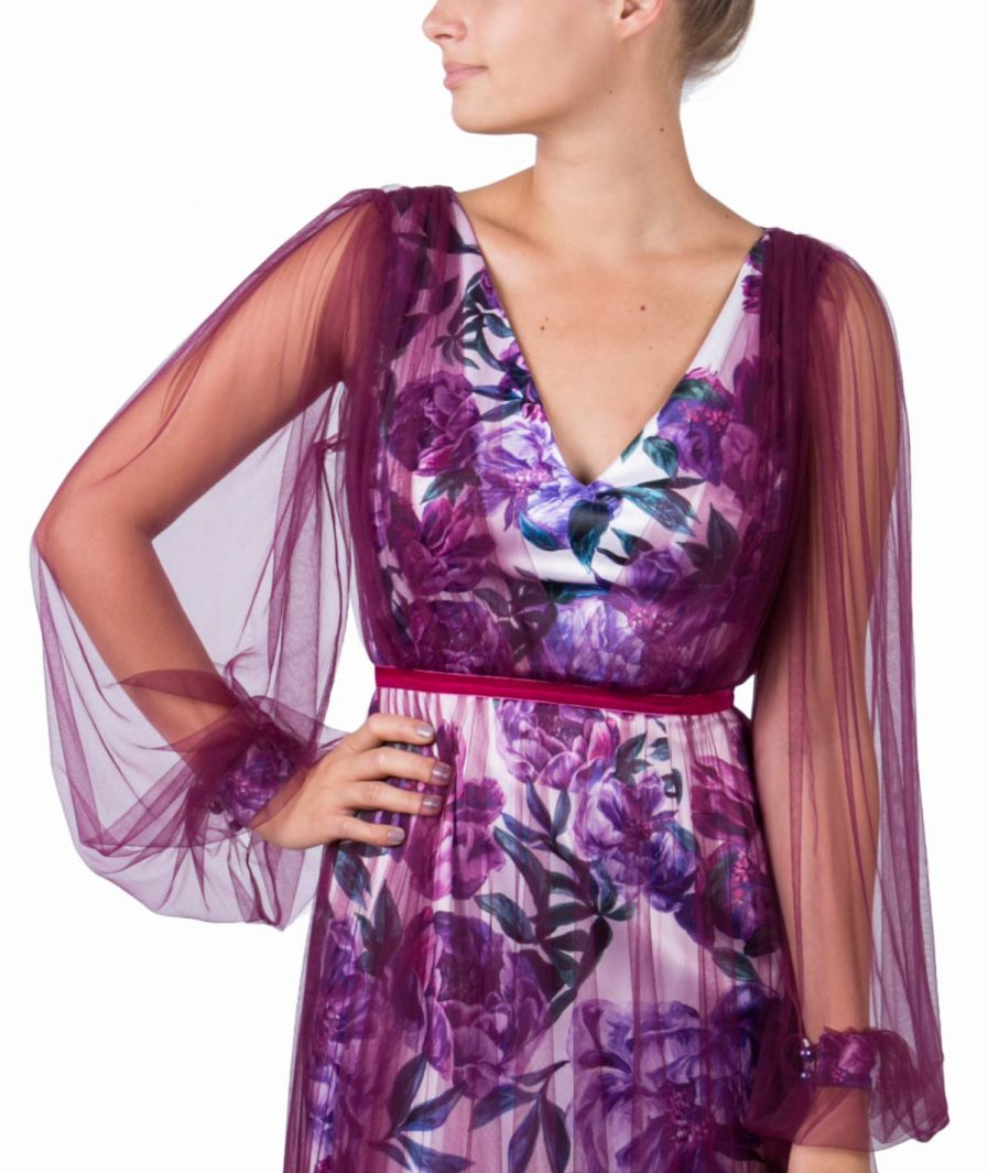 Sinestezic | Romanian Designer | Fashion Brand | Hidden Garden Maxi Evening Dress | Floral printed evening dress | Elegant printed long dress with floral print | Elegant printed maxi dress with floral print