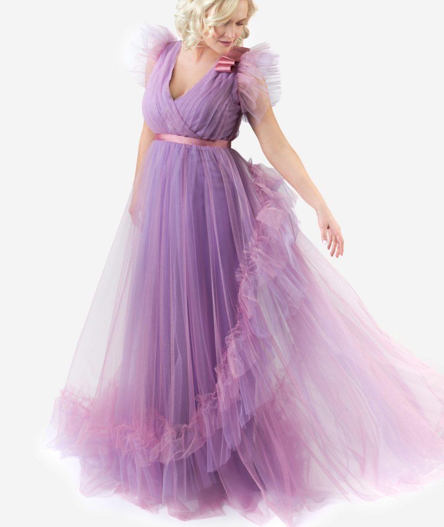 Sinestezic | Romanian fashion designer | Lavender Love evening dress | Unique evening dress | Designer evening dress | Maxi evening dress | Unique maxi evening dress