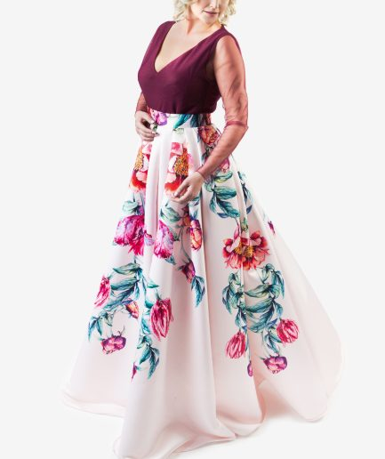 Sinestezic | Romanian fashion designer | Scented Dream evening dress with floral print | Unique evening dress | Personalized evening dress | Personalized maxi evening dress | Unique maxi evening dress