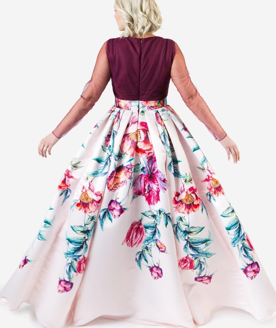 Sinestezic | Romanian fashion designer | Scented Dream evening dress with floral print | Unique evening dress | Personalized evening dress | Personalized maxi evening dress | Unique maxi evening dress