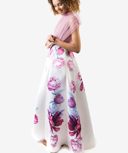 Sinestezic | Romanian fashion designer | Serenity evening dress with floral print | Unique evening dress | Personalized evening dress | Personalized maxi evening dress | Unique maxi evening dress