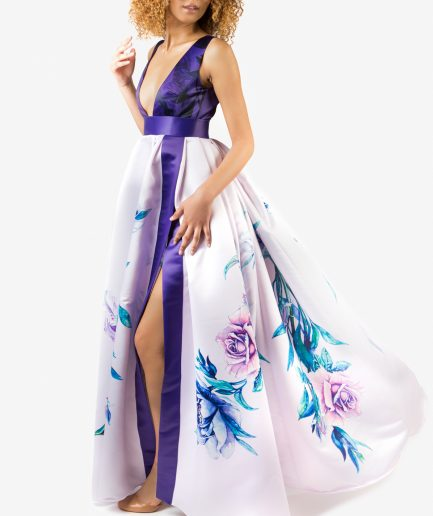 Sinestezic | Romanian fashion designer | Vivid Flowers evening dress with floral print | Unique evening dress | Personalized evening dress | Personalized maxi evening dress | Unique maxi evening dress