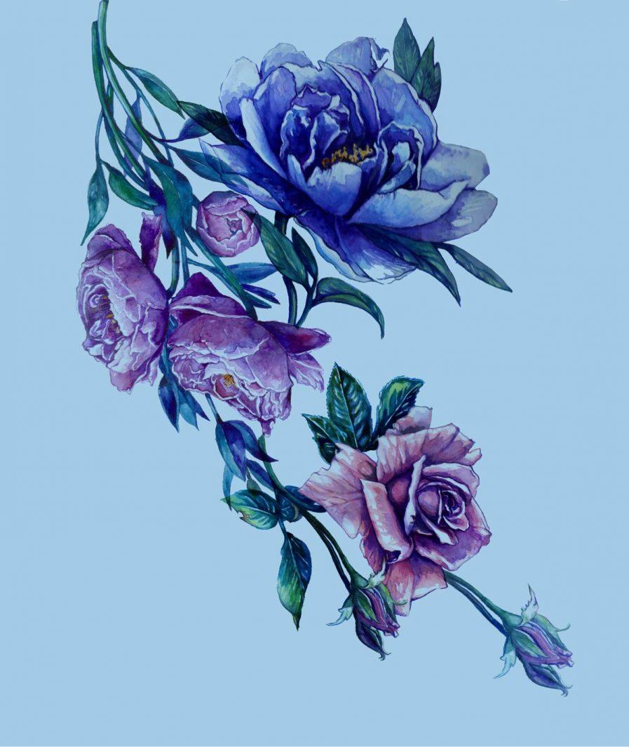 Sinestezic floral print for Blue Bouquet midi cocktail dress