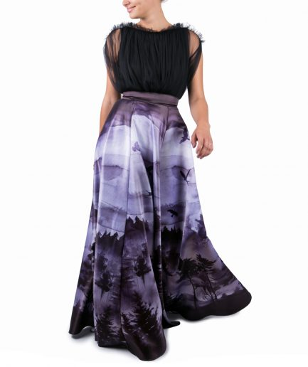 Sinestezic | Romanian Designer | Fashion Brand | Black Forest Maxi Evening Dress | Printed evening dress | Elegant printed long dress with forest landscape | Elegant printed maxi dress forest landscape