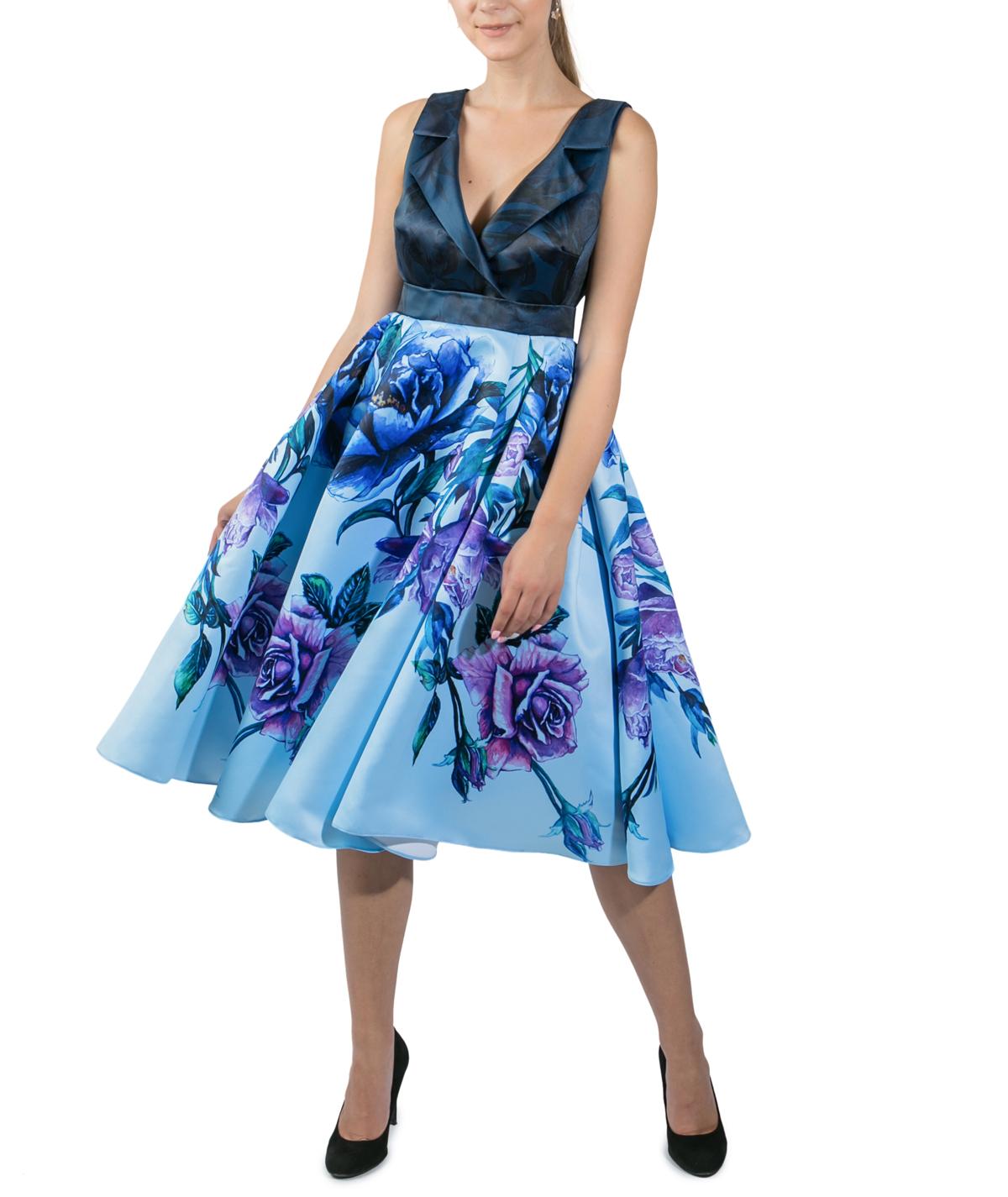 39a372ab6fa3 Blue Bouquet Midi Day Dress
