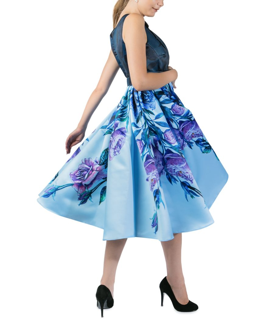 Sinestezic | Romanian Designer | Fashion Brand | Blue Bouquet Midi Day Dress | Blue floral printed cocktail dress | Blue elegant printed midi dress with floral print