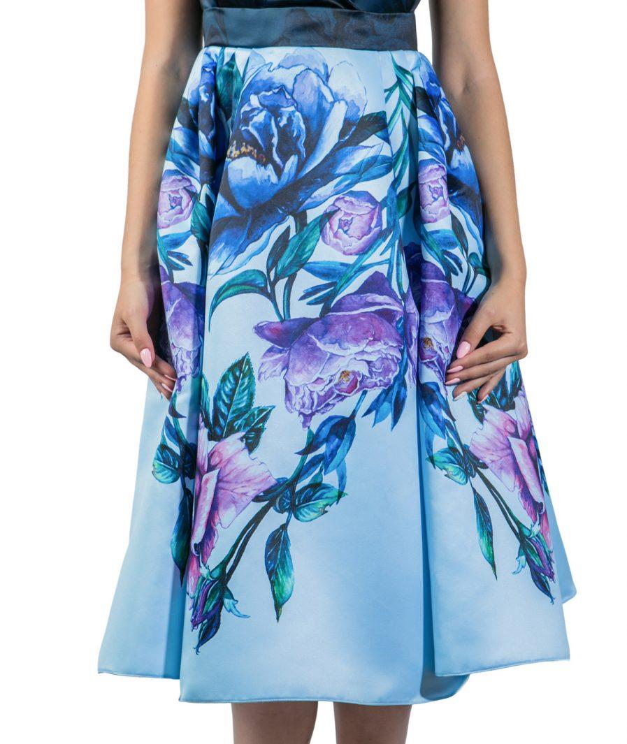 Sinestezic | Romanian Designer | Fashion Brand | Blue Bouquet Midi Day Dress | Blue floral printed cocktail dress | Blue elegant printed midi dress with floral print