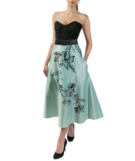 Sinestezic | Romanian Designer | Fashion Brand | Green Tulip Midi Cocktail Skirt | Green floral printed cocktail skirt | Casual skirt | Green elegant printed midi skirt with floral print