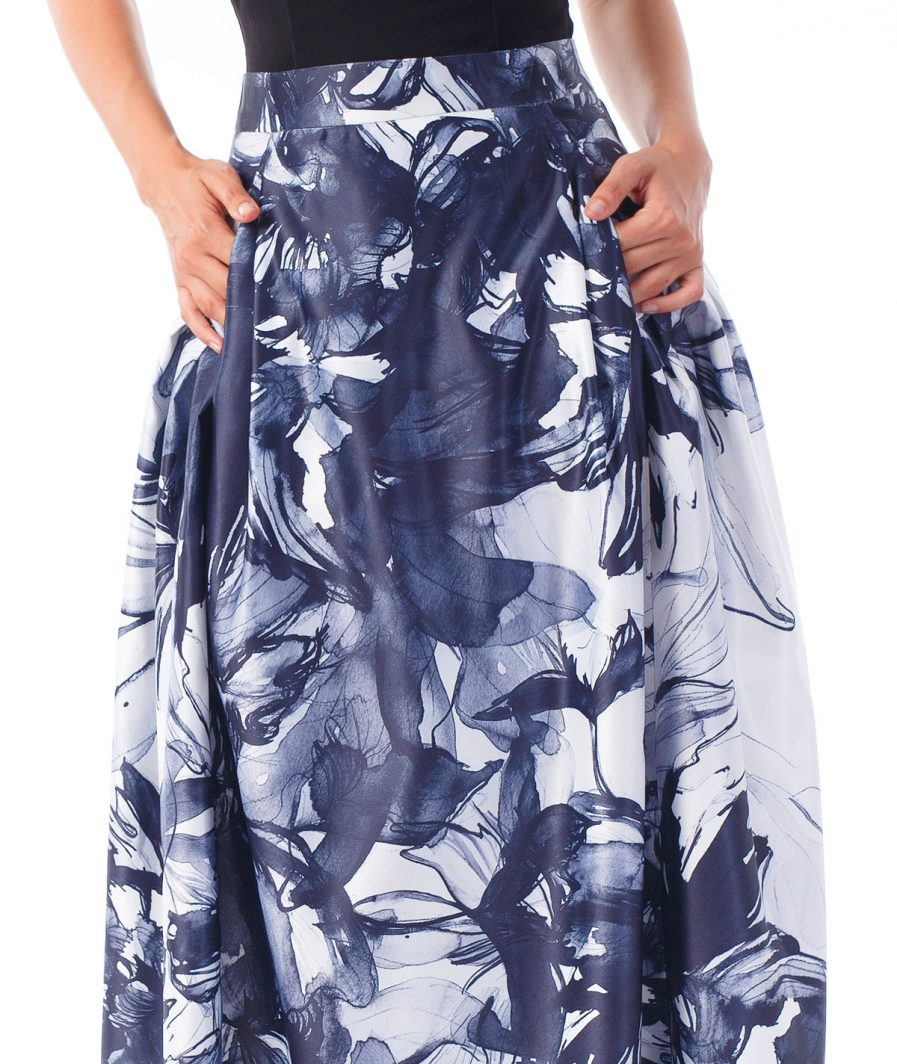 Sinestezic | Romanian Designer | Fashion Brand | Inner Flower Long Evening Skirt | Floral printed evening skirt | Elegant printed long skirt with floral print | Elegant printed maxi skirt with floral print