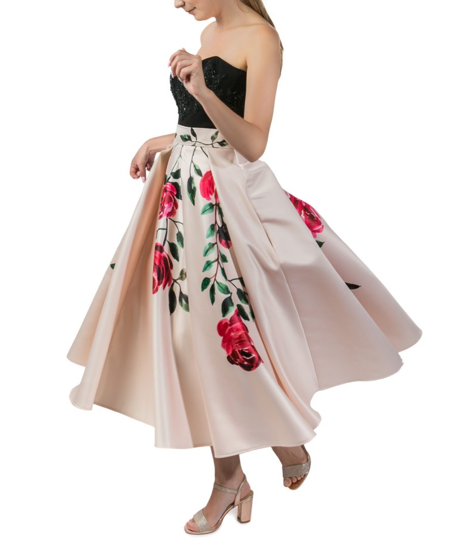 Sinestezic | Romanian Designer | Fashion Brand | Rose Midi Cocktail Skirt | Nude floral printed cocktail skirt | Casual skirt | Nude elegant printed midi skirt with floral print