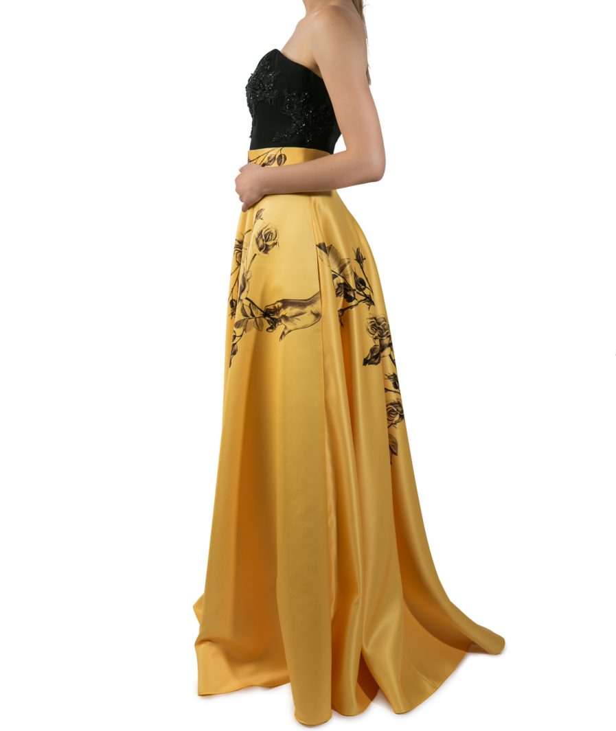 Sinestezic | Romanian Designer | Fashion Brand | Yellow Rose Long Evening Skirt | Yellow floral printed evening skirt | Yellow elegant printed long skirt with floral print | Yellow elegant printed maxi skirt with floral print