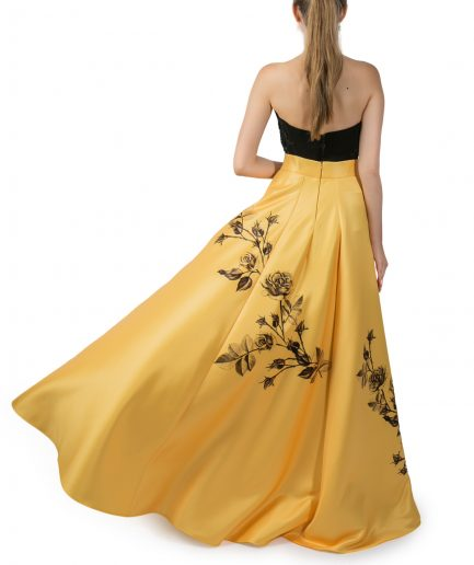 Sinestezic | Romanian Designer | Fashion Brand | Yellow Rose Long Evening Skirt | Yellow floral printed evening skirt | Yellow elegant printed long skirt with floral print | Yellow elegant printed maxi skirt with floral print