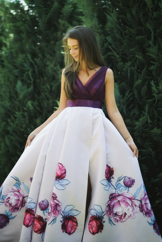 Floral print maxi evening dress | Sinestezic | #SinestezicQueens