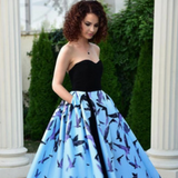 Blue maxi evening dress printed with floral paintings Sinestezic