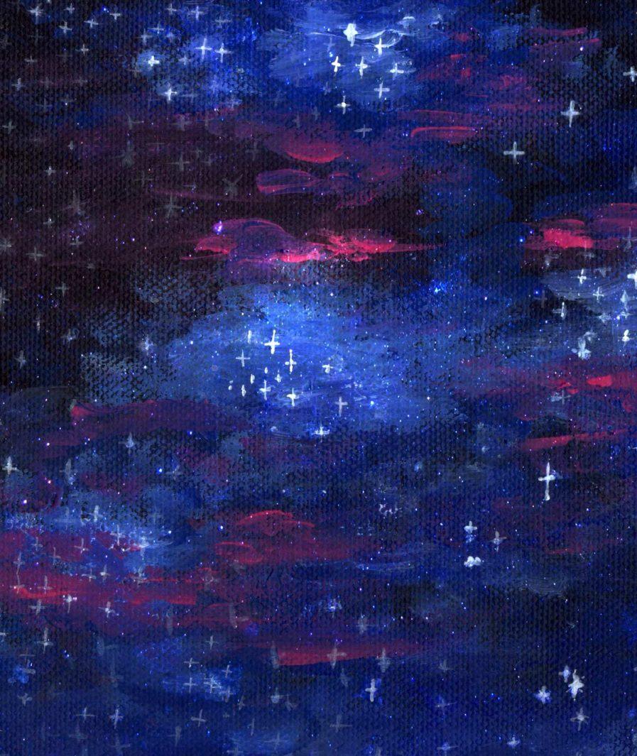 Sinestezic landscape print for Night Stars asymmetrical evening skirt