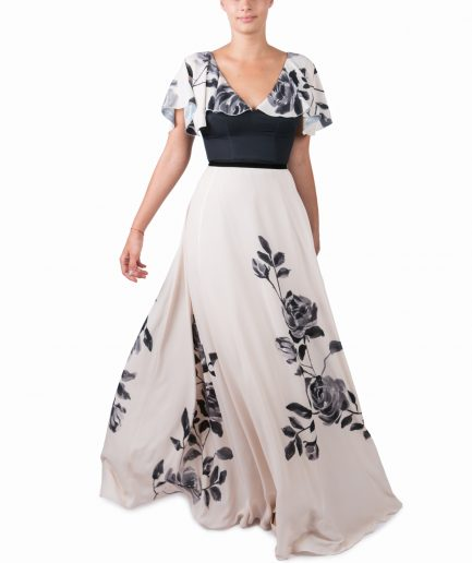 Sinestezic | Romanian Designer | Fashion Brand | Fluid Rose Maxi Evening Dress | Beige floral printed evening dress | Beige elegant printed long dress with floral print | Beige elegant printed maxi dress with floral print
