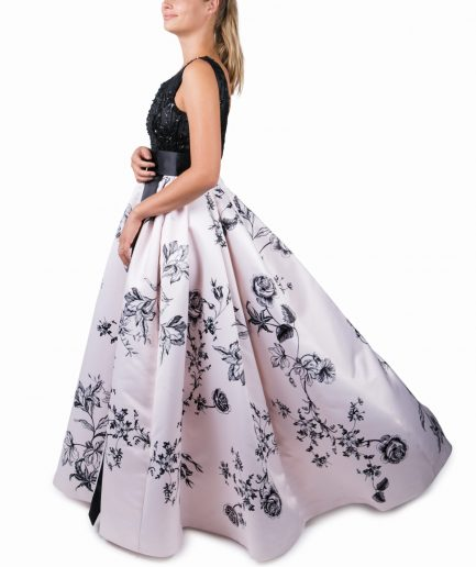 Sinestezic | Romanian Designer | Fashion Brand | Night Dream Maxi Evening Dress | Ivory floral printed evening dress | Ivory elegant printed long dress with floral print | Ivory elegant printed maxi dress with floral print