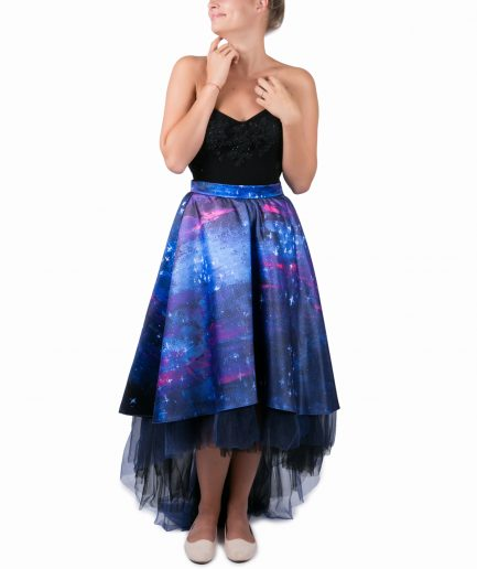 Sinestezic | Romanian Designer | Fashion Brand | Night Stars Asymmetrical Evening Skirt | Printed evening skirt | Elegant printed asymmetrical skirt