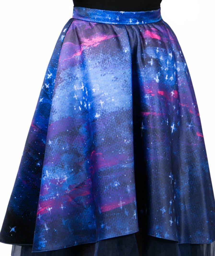 Sinestezic   Romanian Designer   Fashion Brand   Night Stars Asymmetrical Evening Skirt   Printed evening skirt   Elegant printed asymmetrical skirt