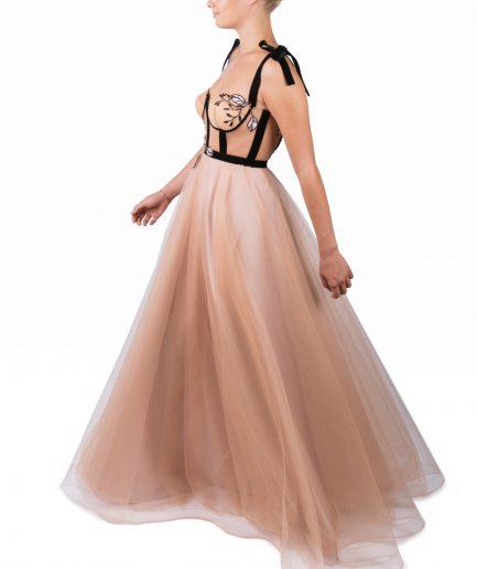 Sinestezic | Romanian Designer | Fashion Brand | Nude Rapsody Maxi Evening Dress | Nude tulle maxi evening dress | Nude elegant maxi evening dress