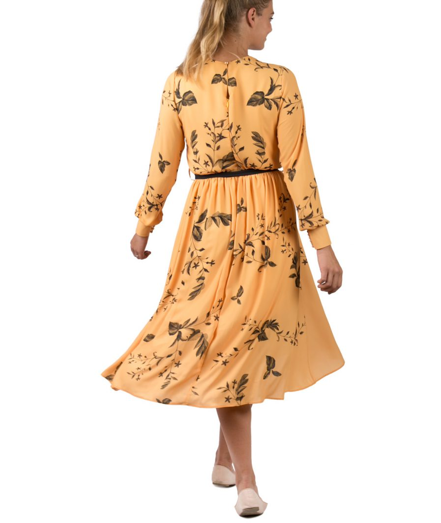 Sinestezic | Romanian Designer | Fashion Brand | Yellow Veil Midi Cocktail Dress | Floral printed midi cocktail dress | Elegant printed midi cocktail dress with floral print