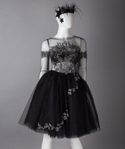 Sinestezic | Romanian Designer | Fashion Brand | Black Swan Midi Evening Dress | Little Black Dress | Midi evening dress | Black elegant midi evening dress with silver lace