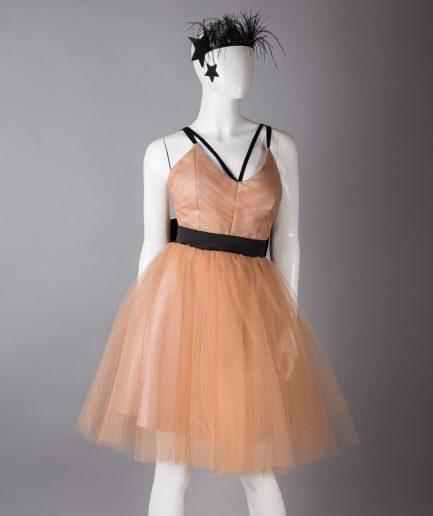 Sinestezic | Romanian Designer | Fashion Brand | Caramel Queen Midi Evening Dress | Nude tulle midi evening dress | Nude elegant midi evening dress