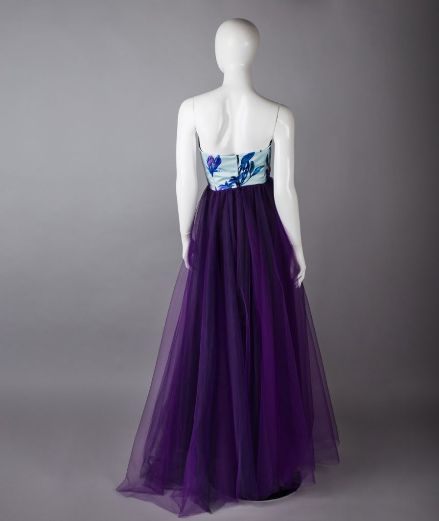 Sinestezic | Romanian Designer | Fashion Brand | Purple Night Maxi Evening Dress | Tulle maxi evening dress | Elegant maxi evening dress | Printed maxi evening dress