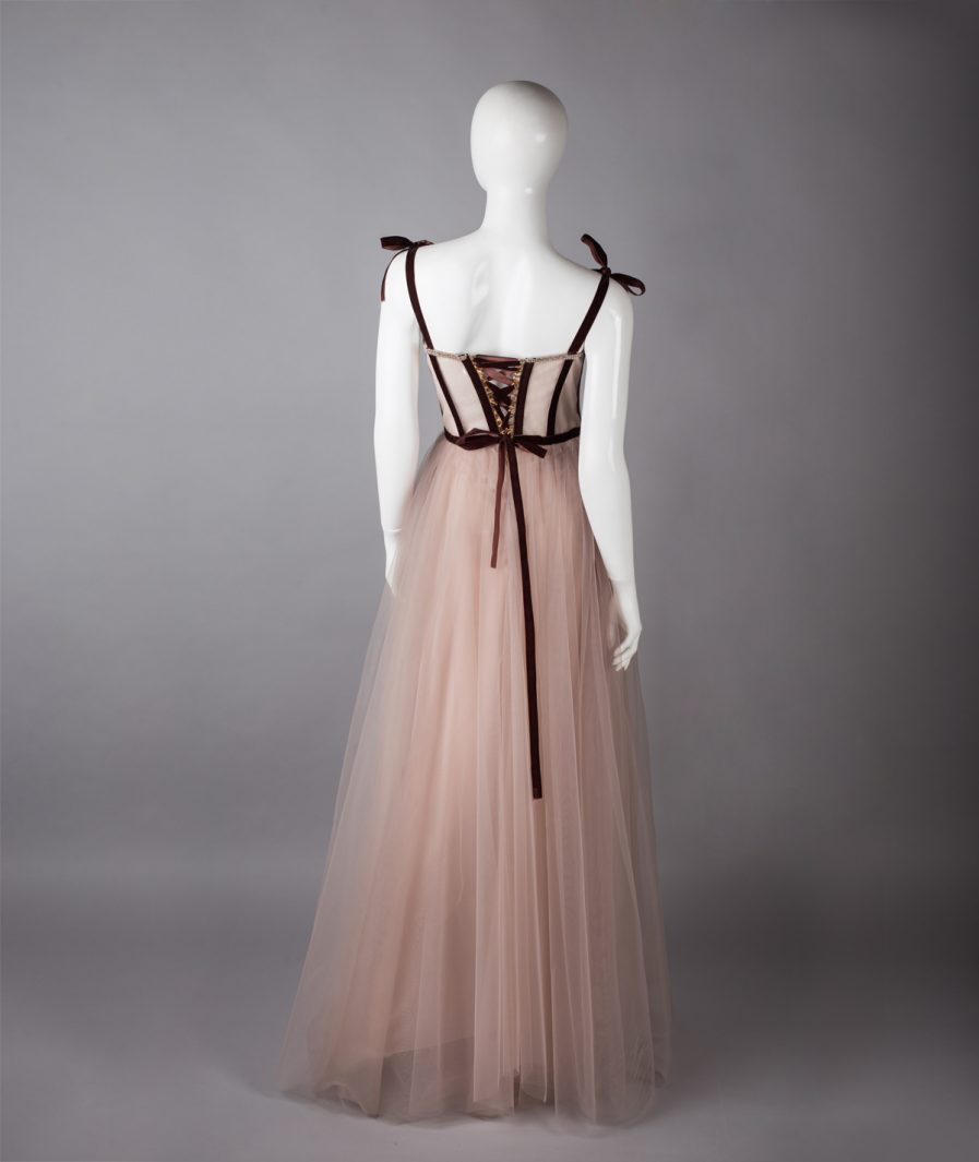 Sinestezic | Romanian Designer | Fashion Brand | Wisper Maxi Evening Dress | Nude tulle maxi evening dress with lace | Elegant maxi evening dress